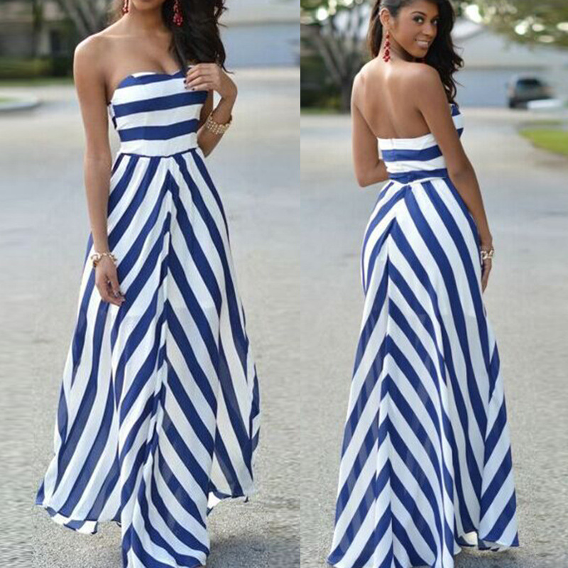 2017 New Brand Women Summer Wrap Long Dress Beach Stitching Striped Big Swing Dresses Off Shoulder Blue Ankle Length Dress Boho