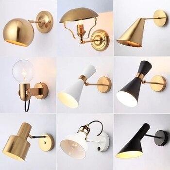북유럽 침실 머리맡 램프 벽 램프 간단한 현대 통로 복도 호텔 황금 배경 벽 램프 크리 에이 티브 led 램프