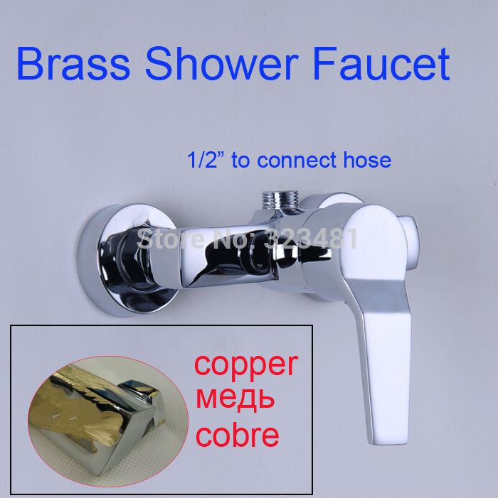 Chrome Plated Solid Brass Bathroom Faucet Mixer Wall Mounted Single Handle Shower Mixer Valve Free Shipping mini brass ball valve panel mountable 450psi with lever handle chrome plated malexfemale npt