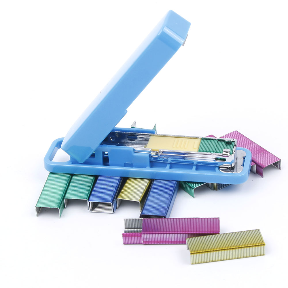 Mini Stapler Candy Color Staples Set 1 PC Stapler + 800 PCS Colorful Staples Office Stationery Paper Binding Binder Kids Gift