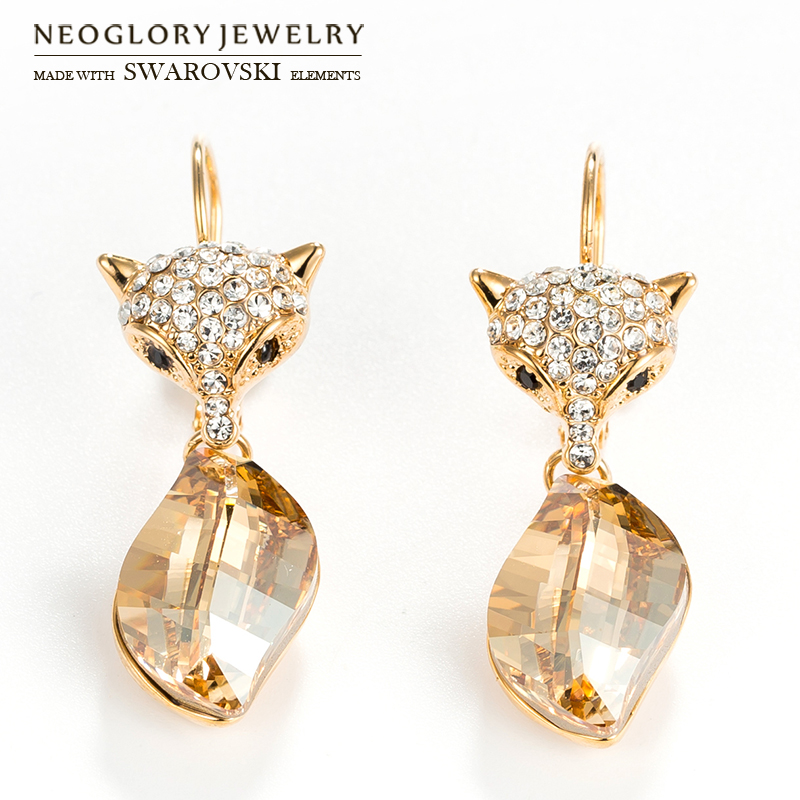 Neoglory MADE WITH SWAROVSKI ELEMENTS Crystal   Rhinestone Long Dangle  Earrings Cute Fox Design Alloy Plated For Women Party -in Drop Earrings  from Jewelry ... 02b9f13a2673