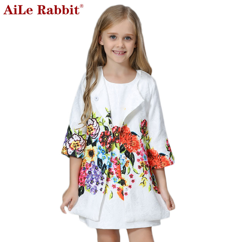 AiLe Rabbit Girls Clothing Sets 2017 Brand Winter Girls Clothes Graffiti Printing Girls Outerwear+Girls Dress for Chindren 3-8Y