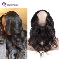 360 Closure With Baby Hair Preplucked 360 lace Frontal Brazilian body wave 100% Human Hair Natural Hairline Adjustable Strap