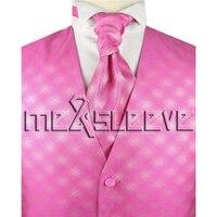 Freies verschiffen heißer verkauf Braut Smoking mannes polyester rosa weste 4 stücke