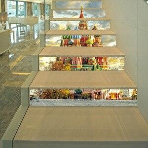 "Image 5 - Europea Castillo pared de la Iglesia estampilla para escalera alicatados de calcomanías de cáscara y palillo extraíble escalera decoración Mural 7,1x39,4"""