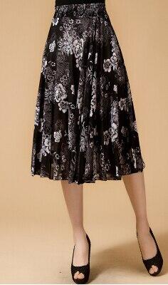 Новинка лета среднего возраста и пожилых Женская мода свободные большой код печати хлопок с эластичной талией юбки хорошее качество ae120 - Цвет: 2