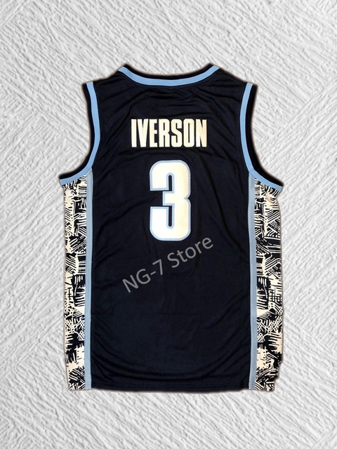 788f9257d04e ... wholesale allen iverson college jersey 3 georgetown university hoyas  basketball jersey commemorative sport shirt all stitched