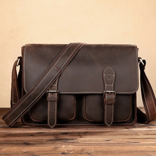 Crazy Horse Genuine Leather Bag Brand Cow Leather Laptop Bag Designer Briefcases Shoulder Crossbody Bags Men Classic Briefcases