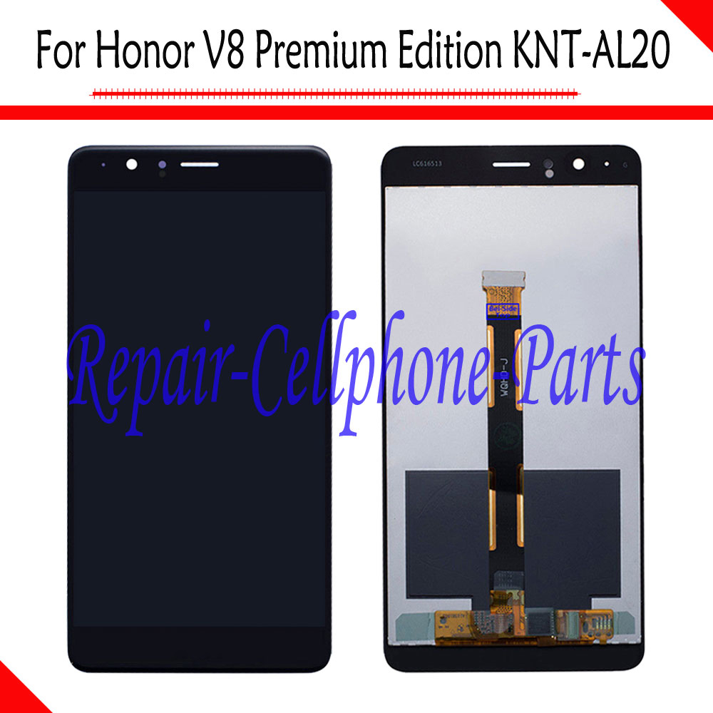 Black 100% New Full LCD DIsplay+ Touch Screen Digitizer Assembly For Huawei Honor V8 Premium Edition TD-LTE KNT-AL20 - Version BBlack 100% New Full LCD DIsplay+ Touch Screen Digitizer Assembly For Huawei Honor V8 Premium Edition TD-LTE KNT-AL20 - Version B