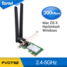 New 300Mbps PCI Express PCI-e Dual band Wireless 802.11a/b/g/n WiFi Atheros AR9280 WLAN Adapter For Windows Mac OS X Hackintosh