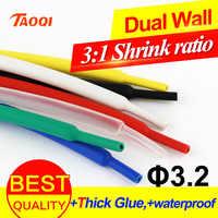 1 meter/los Schrumpf Schlauch 3,2mm Klebstoff Gefüttert 3:1 verhältnis Dual Wand Schläuche mit Kleber Wasserdicht Wrap Draht Kabel kit