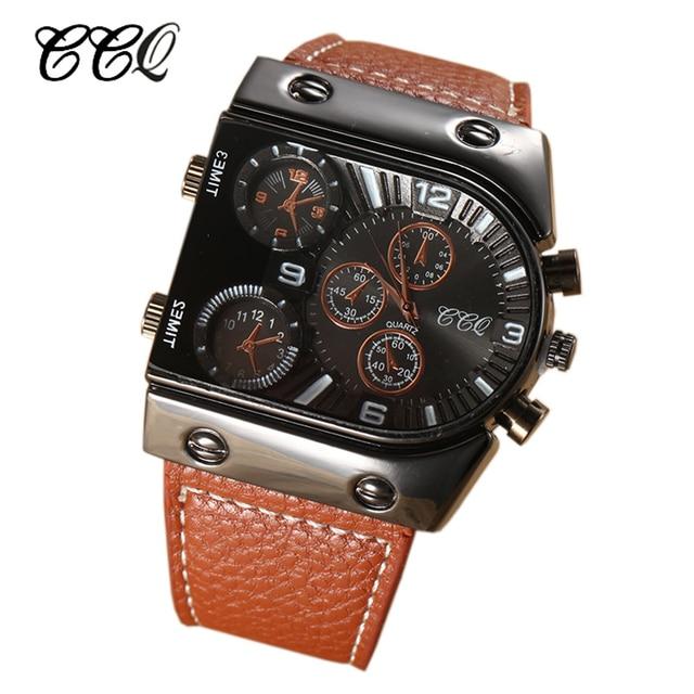 10e7ea3cb0c CCQ Relógios de Luxo Da Marca Dos Homens de Alta Qualidade Pulseira De  Couro Genuíno Relógio