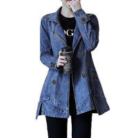 Long sleeve Denim jacket Women Autumn Winter Loose Thin Wild Windbreaker Jackets Women's Korean Plus size Long Jackets Coat A342