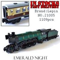 LEPIN 21005 1085 개 테크닉 시리즈 에메랄드 밤 기차 모델 건물 키트 피규어 블록 벽돌 장난감 10194