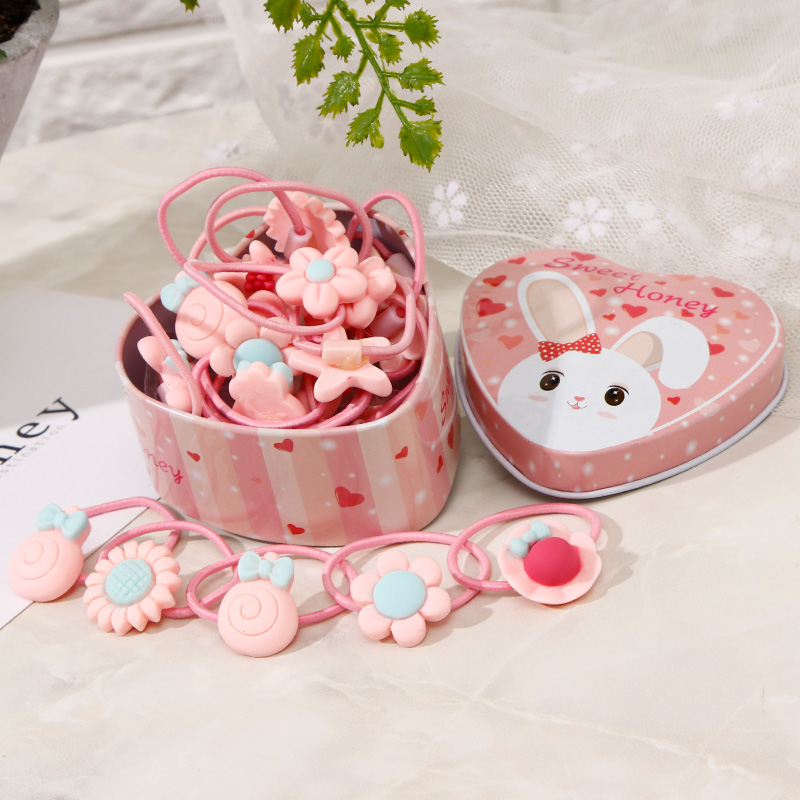 20pcs/Lot New Gift Box Packed Girls Cute Cartoon Elastic Hair Bands Headwear Scrunchies Rubber Bands Headbands Hair Accessories
