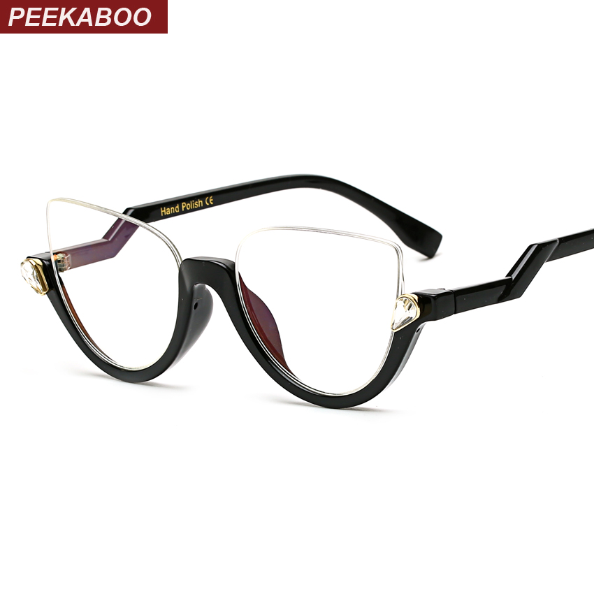 Peekaboo Clear Crystal Half Frame Cat Eye Eye Glasses Women Optical Vintage Black Designer Brand Eyewear Frames Women Ladies