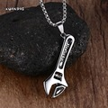 Mens Necklaces Stainless Steel Mechanic Wrench Tool Pendant Choker for Men Hip hop Biker Silver collier kolye Jewelry with 24 ""