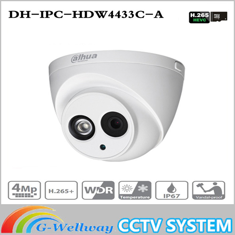 Free shipping IPC-HDW4433C-A Upgrade from IPC-HDW4431C-A POE Network IR Mini Dome IP Camera With Built-in Micro 4MP CCTV Camera dhl free shipping in stock new arrival english version ds 2cd2142fwd iws 4mp wdr fixed dome with wifi network camera