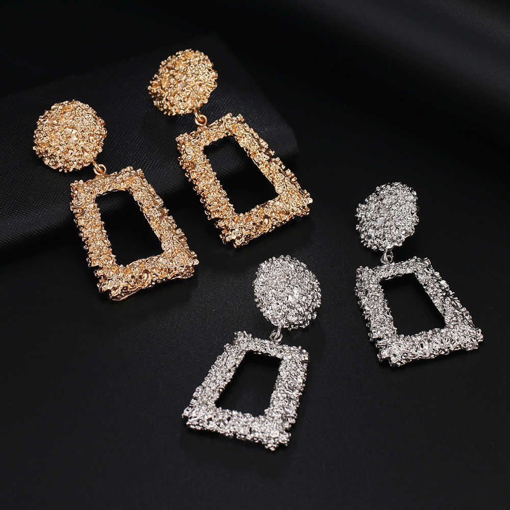 Women's Gift Pendant Earrings Geometric Metal Simple Pop Earrings Girls Earrings Party Gifts 2019 New Products Free Send