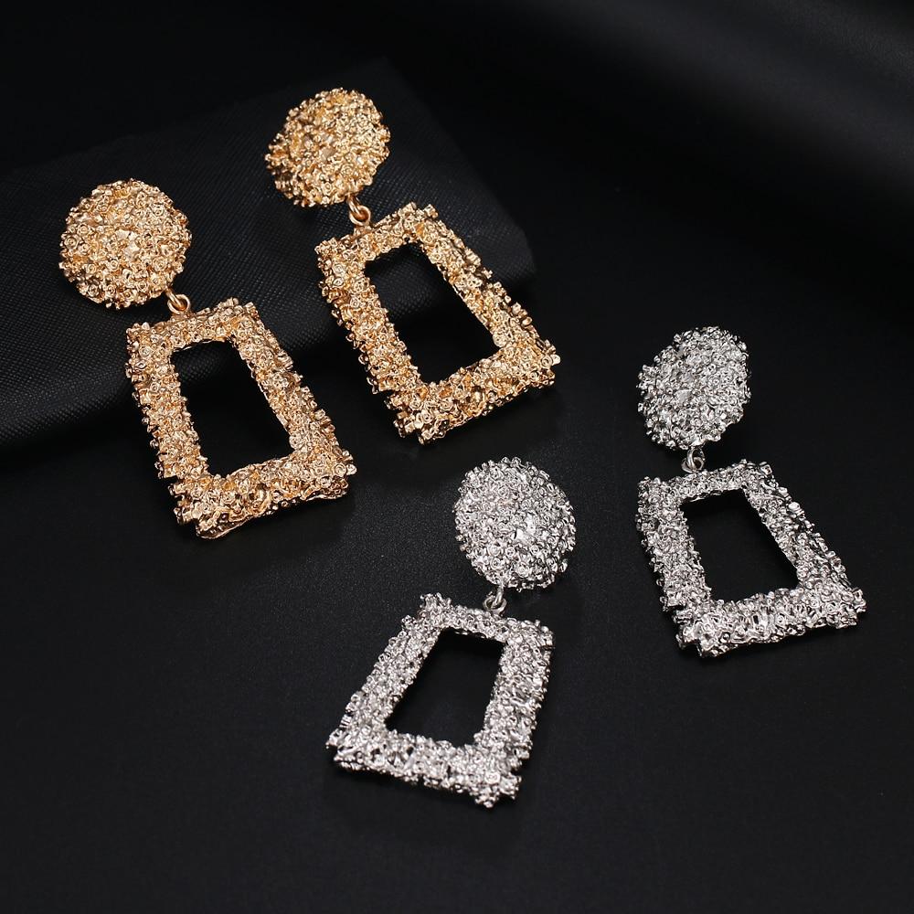 Women's Gift Pendant Earrings Geometric Metal Simple Pop Earrings Girls Earrings Party Gifts 2019 New Products Free Send