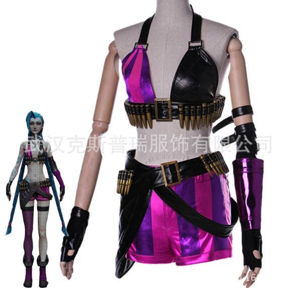 Jeu de mode LOL Crit Loli Jinx Cosplay Costumes Halloween fête fille magique uniformes Jinx Costume de peau Original pour les femmes