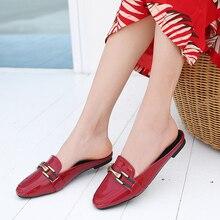 Zapatos Vintage para mujer estilo británico decoración de Metal con punta cuadrada. Zapatos de tacón bajo para mujer mocasines femeninos zapatillas de verano OULYYYOGO