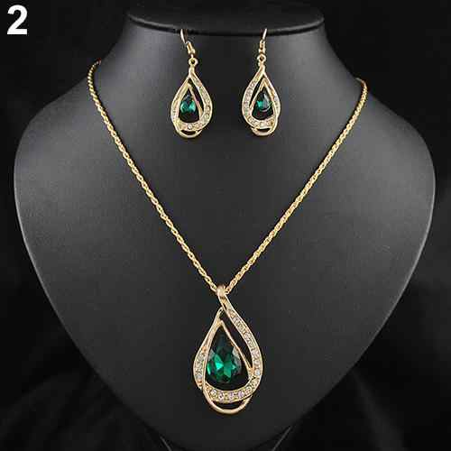 Banquet Party Jewelry Set Waterdrop Crystal Stone Earrings Pendant Necklace Golden Chain dubai jewelry sets parure bijoux femme