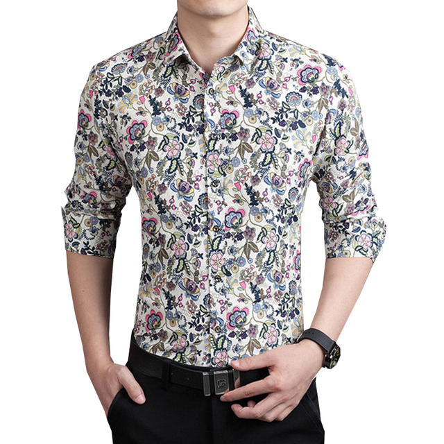 Online Shop 2016 New Fashion Brand Clothing Slim Fit Men's Flower ...