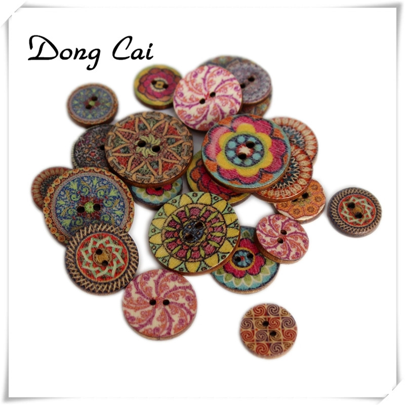 50pcs Flower Wood Buttons for Sewing Scrapbooking Home Cloth Handmade Decor 15mm