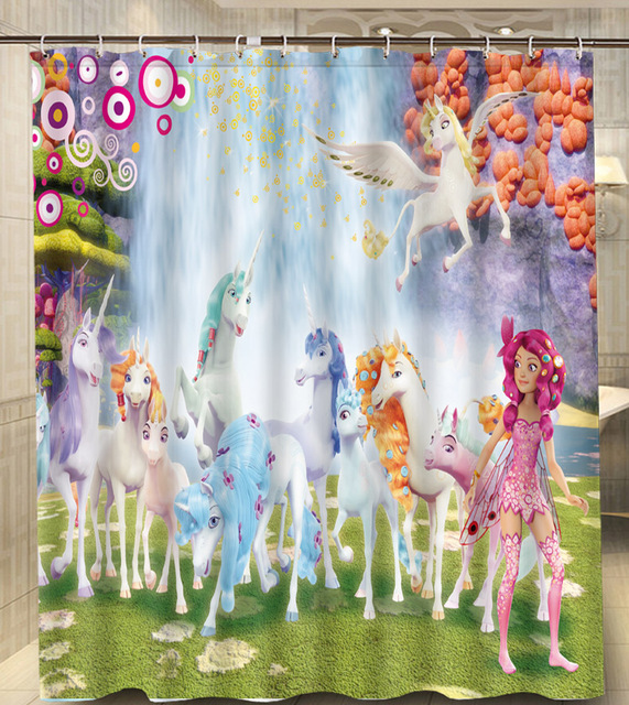 Mia And Me Horse Waterfall Best Gift Modern Classical Custom Shower Curtain Waterproof 160x180cm Bathroom