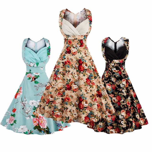 Comwarm Autumn Women 50s Vintage Grease Printed Flower Prom Bodycon ...