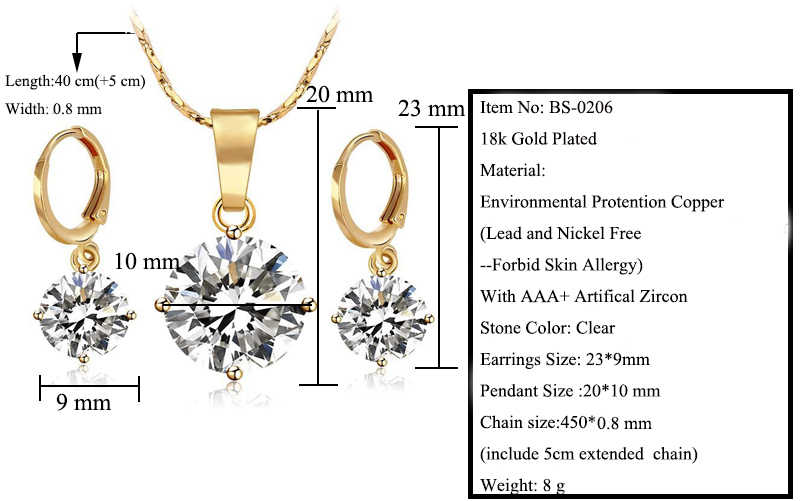 3c49d23b2df ... MGFam 18 Yellow Gold Color Single Stone Jewelry set Women ( Pendant  Necklace and Earring)