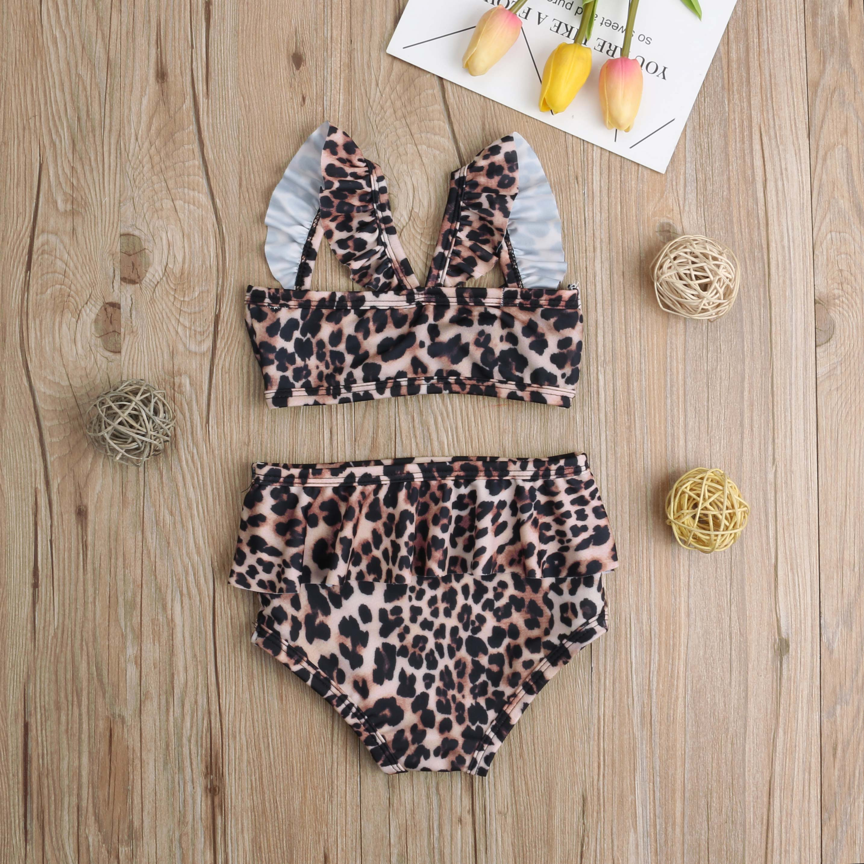 Лидер продаж, комплект из 2 предметов для маленьких девочек, Леопардовый цветочный принт, купальный костюм, бандаж, оборки, детский пляжный л... 18