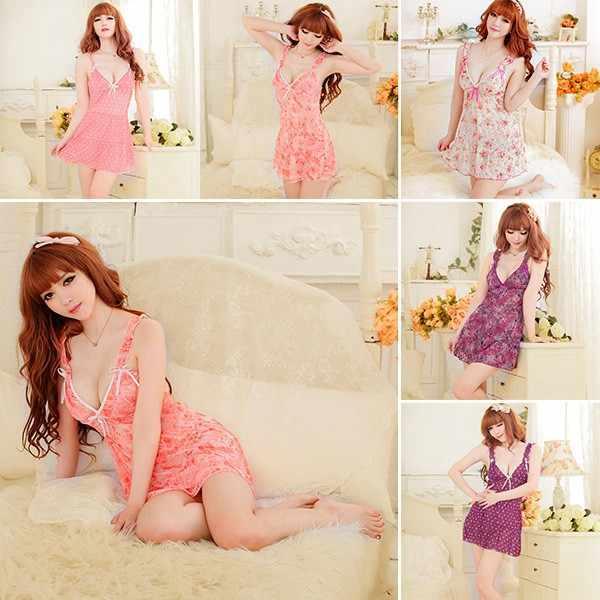 Продажи Горячие Для женщин пикантная мягкая Ночная сорочка бебидолл платье с цветочным принтом пижамы, нижнее белье стринги