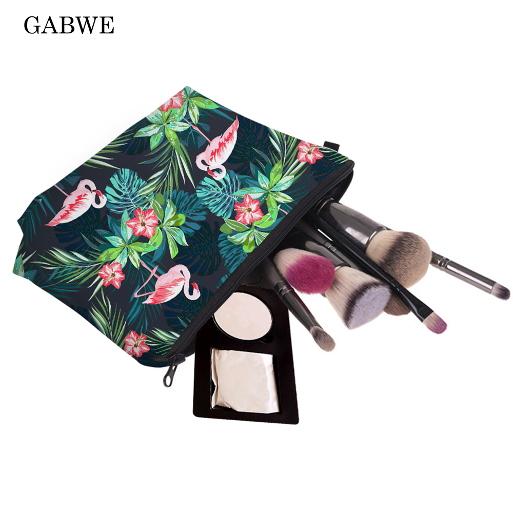 GABWE Fashion Print Cosmetic Bag Flamingo With Tropical Flowers Palm Green Fresh Portable Makeup Bag Travel Toiletry Organizer