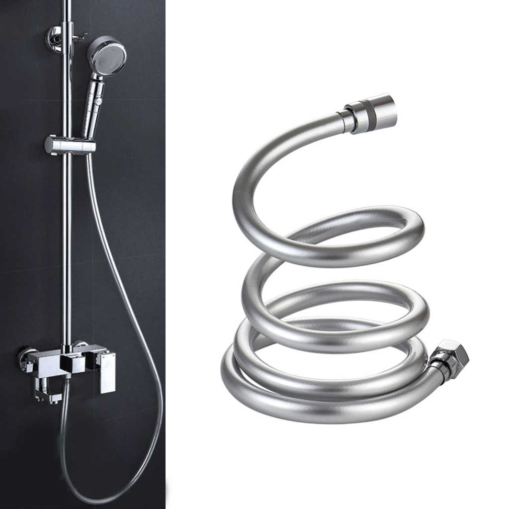 2M Titanium Gold Flexible Shower Head Hose Extra Long Stainless Steel Hand Held