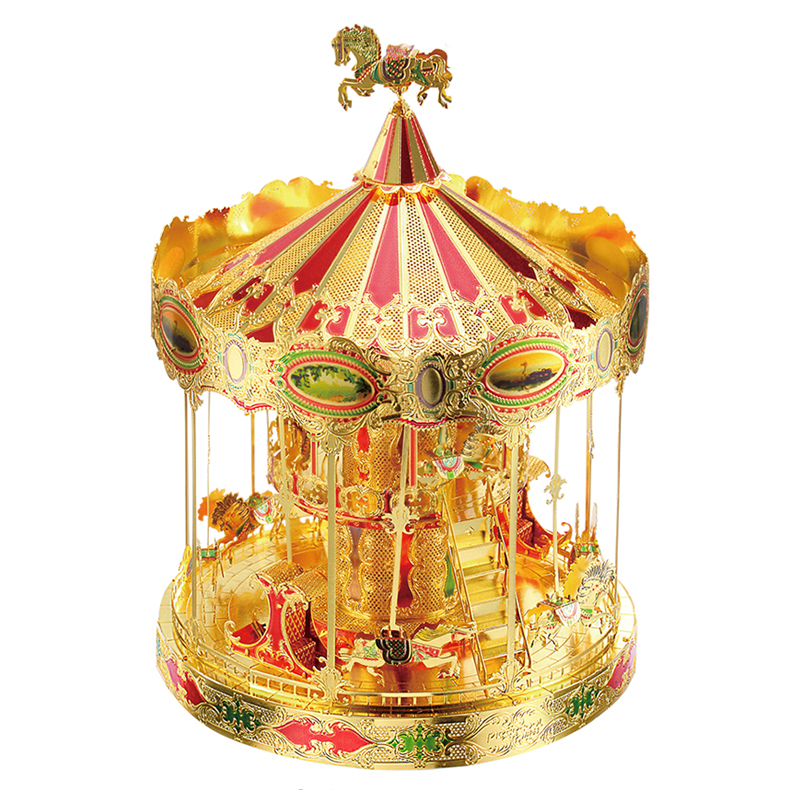 Piececool Merry GO Around Carousel Building DIY 3d Metal Nano Puzzle Assemble Model Kits P082-GRN Laser Cut Jigsaw Toys original piececool 3d assembling metal puzzle taj mahal building p007 g model diy 3d laser cut nano jigsaw toys gold