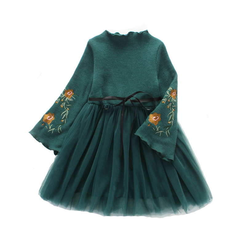 Autumn Winter Girls Dress Embroidery Floral Mesh Kids Dresses for Girls Fashion Princess Girls Party Dress DQ732 цена 2017