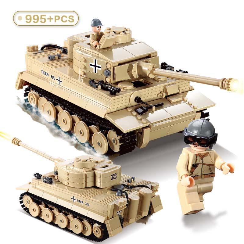 Série militaire WW2 Panzerkampfwagen tigre exécution E réservoir blocs de construction armée soldat Figures jouets pour enfants cadeaux