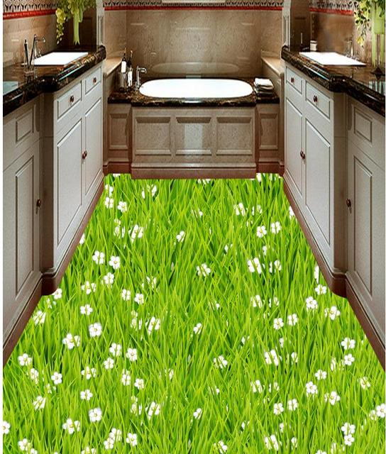 3d pvc tapete Rasen gras blume boden bad küche 3d bodenbelag boden ...