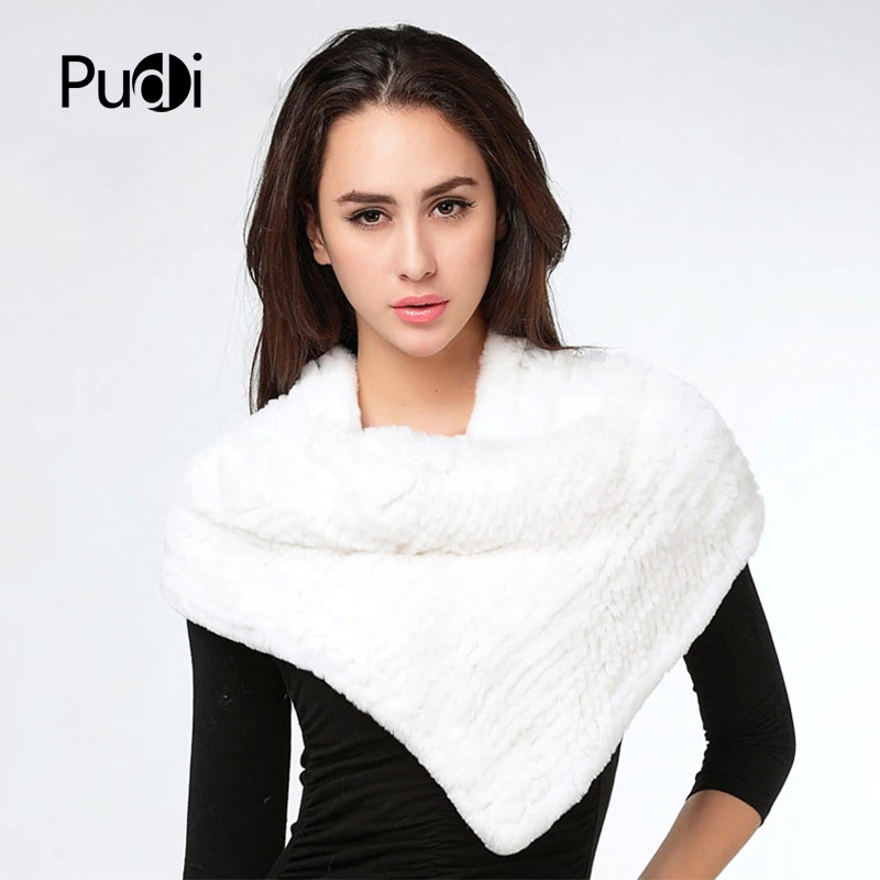 SRA003 Real Knitted Rex Rabbit Fur Shawl Cape Stole Wrap Poncho Scarf Neck Warmer
