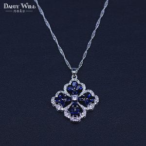 Image 4 - New Fashion Women Love Gift Dark Blue Cubic Zirconia Pendant/Necklace/Earrings/Rings/Bracelets silver color Jewelry Set
