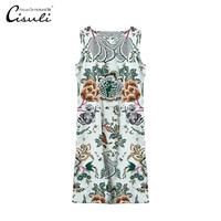 CISULI 100% Silk Dress Silk Crepe De Chine 16momme Fabric Floral Printed New Desigual Classic Comfortable Summer Dress Plus Size