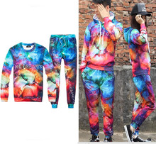Male and female (sweater+pants) suit casual two pieces sets print tide casual suit fashion boy show hip hop performance clothing