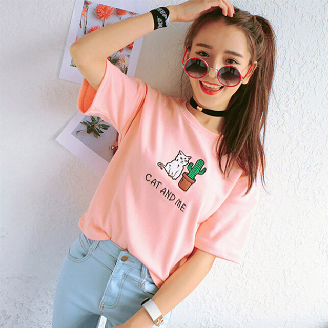 Summer Short Sleeve Cat T-shirt
