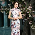 New Spring Summer Chinese Clothing Qipao Elegant Long Cheongsams dress ZA8100
