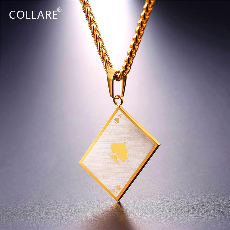 Collare Spade Ace Poker Pendants Gold/Black Color Playing Card Pewt Jewelry 316L Stainless Steel Spades Cards Necklaces Men P828
