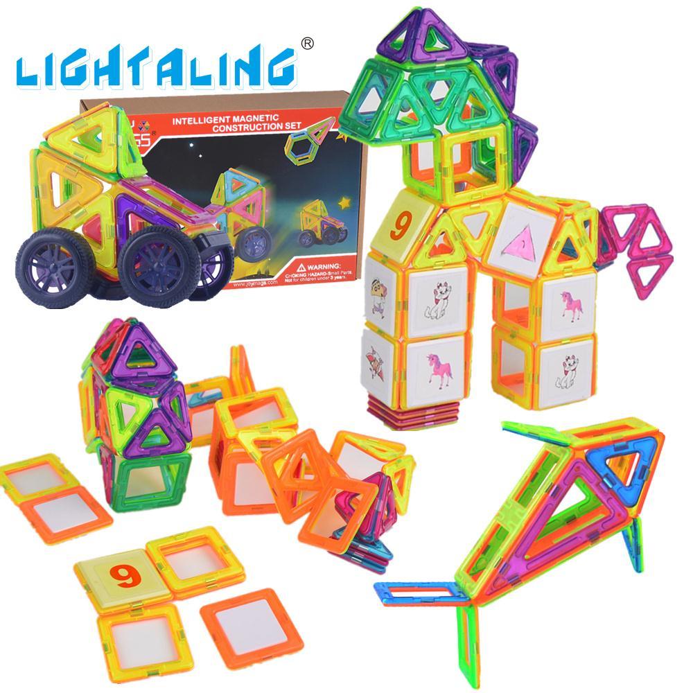 Lightaling Kids Toys Educational Magnetic Blocks Designer 3D DIY Models Construction Creative Enlighten Building Toy Gifts susengo magnetic toy building enlighten block designer 358pcs magnet bars