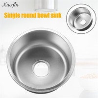 Xueqin 201Stainless Steel Kitchen Sink Under Topmount Laundry Single Round Bowl Wash Basin 420x420x200mm