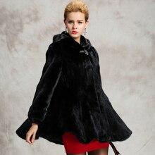 Fur coat women's Mink fur jacket thick 2016 winter outerwear female overcoat black with hooded long design slim artificial fur